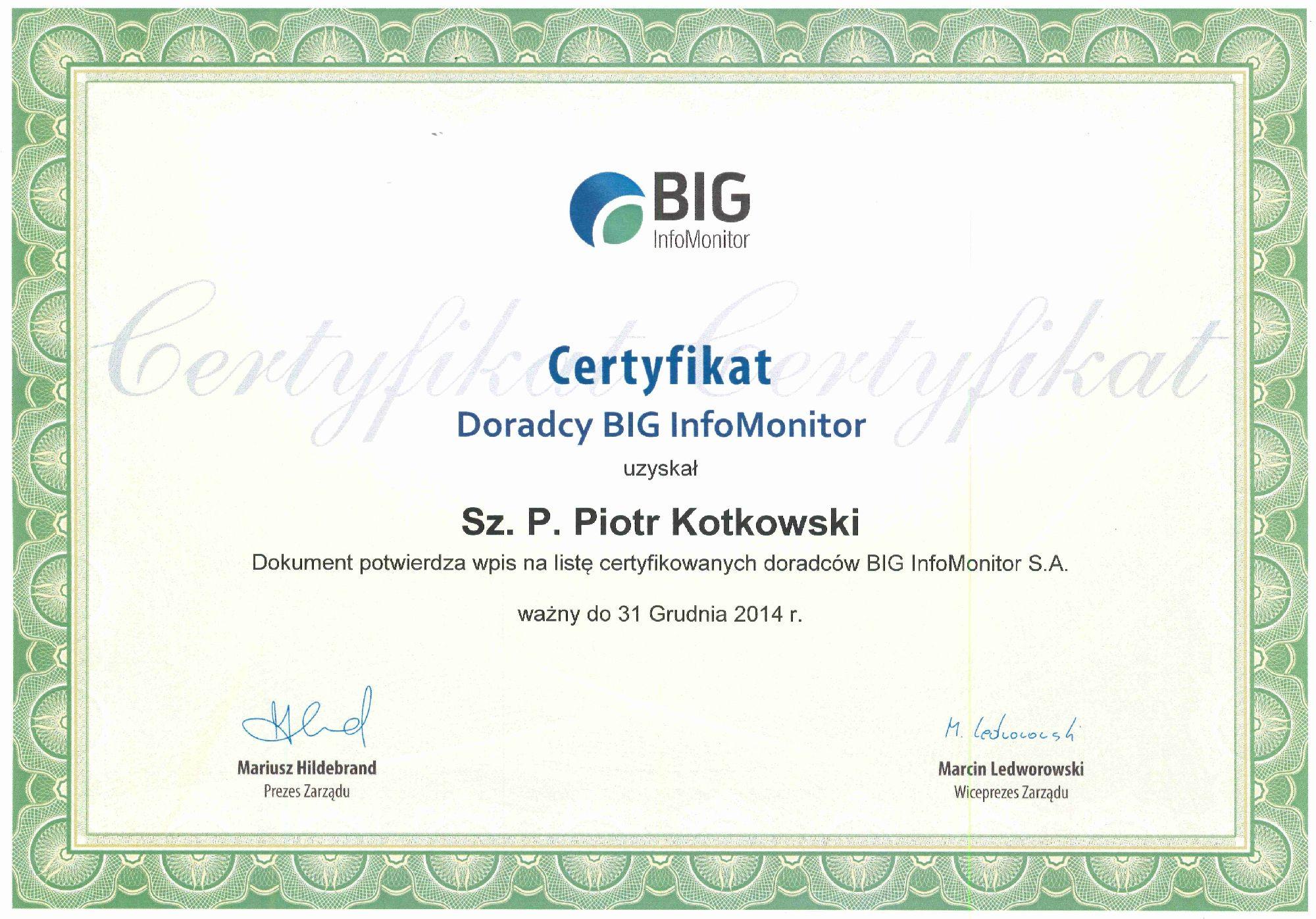 Certyfikat BIG PK small