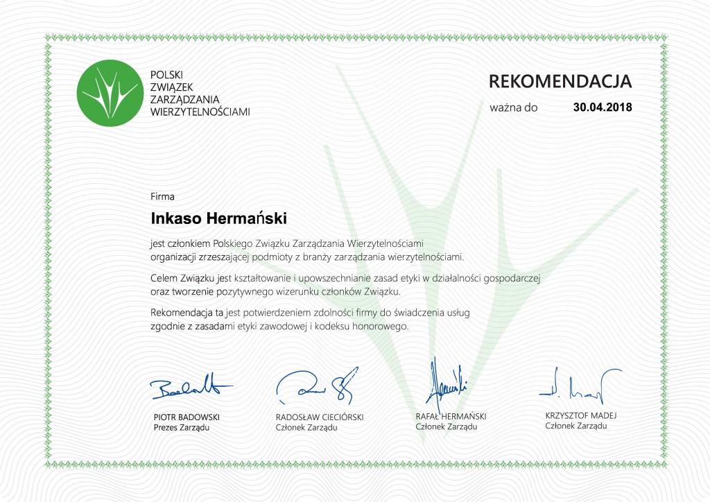 Rekomendacja, 30.04.2018, Inkaso Hermański-page-0