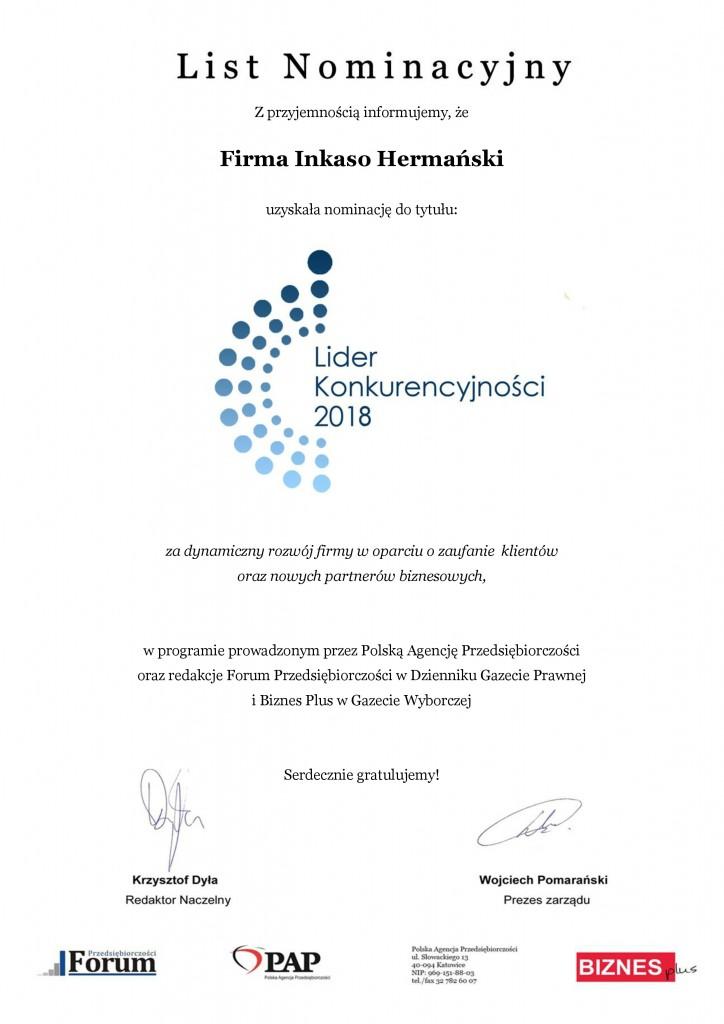 Inkaso List Nominacyjny - Lider Konkurencyjności 2018-page-0